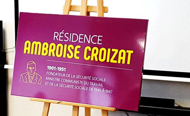 Pose de la plaque Ambroise Croizat